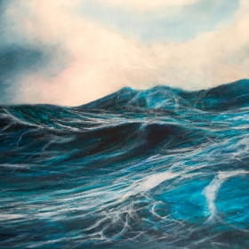 Sea. Oil on board. 120 x 65 x 5 cm. 2014