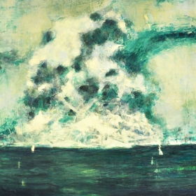 Explosion in the sea. Oil on board. 130 x 100 cm. 2013