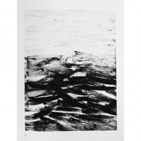 Black pigment on paper. 2018