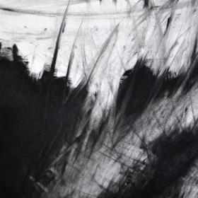 Black pigment on paper